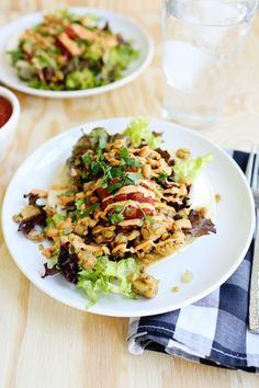 Spicey tempeh taco salad- sub mayo for Greek yogurt and mustard mix