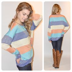 Striped Sweater, jeans and boots! Fall or Winter