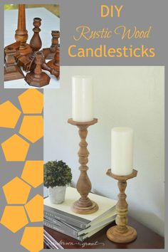 Thrift store candlesticks get an easy makeover and are now rustic chic!