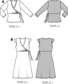 Burda 7828.........so easy to make!! And a wrap dress really flatters and hides that extra love.