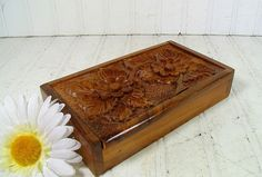 Vintage Hand Carved Cigar Size Wooden Box  Lift by DivineOrders, $21.00