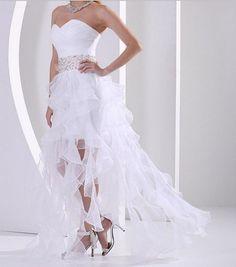 Beach Sexy High-Low Wedding dress Bridal gown Custom Size 2 4 6 8 10 12 14 16 18 20 on Etsy, $160.00