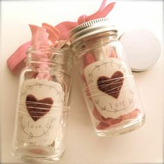 """Over on """"Crescendoh"""" Jenny Doh created these """"Valentine's Jars with Fold Over Elastic Ponytail Holders"""" for a charming Valentine's Day gift. She used small Mason jar … Valentine Theme, Valentine Day Love, Valentines Day Party, Valentine Gifts, Valentine Ideas, Christmas Craft Fair, Holiday Crafts, Spring Crafts, Holiday Ideas"""