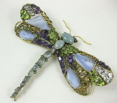 Peridot Citrine Amethyst Dragonfly Pin - Love this, and Peridot is my birthstone.