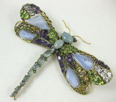 Peridot Citrine Amethyst Dragonfly Pin