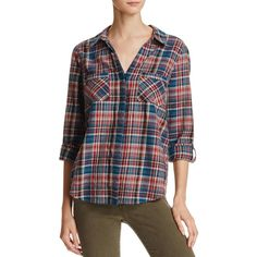 Joie Sumba Plaid Shirt (9,480 PHP) ❤ liked on Polyvore featuring tops, deep marine, button down top, tartan shirts, plaid button up shirts, plaid button down shirt and tartan top