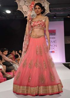 lehenga seen at Lakme Fashion Week 2013 Collection by Anushree Reddy 12 Lehenga Designs, Mehndi Designs, Royal Indian Wedding, Indian Bridal, Pink Lehenga, Lehenga Choli, Net Lehenga, Floral Lehenga, Bollywood Lehenga