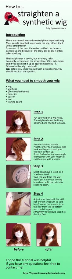 Tutorial: How to straighten a synthetic wig by DynamicCanary.deviantart.com