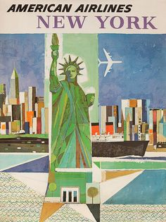 DP Vintage Posters - American Airlines [[New York]] City Original Travel Poster Webber Statue of Liberty