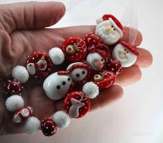 CK Lampwork Beads Red Reindeer Set of 18 Beads SRA Handmade | eBay