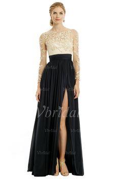 Evening Dresses - $168.75 - A-Line/Princess Scoop Neck Floor-Length Chiffon Lace Evening Dress With Ruffle Split Front (01705020968)