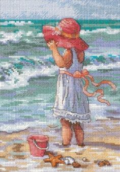Amazon.com: Dimensions Needlecrafts Counted Cross Stitch, Girl At The Beach: Arts, Crafts & Sewing