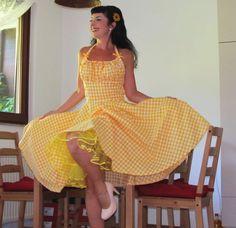 Pinup dress 'Lollipop dress in yellow by PinupDollWardrobe on Etsy