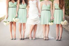 shoe shot- mint and grey wedding love the added belts to simple bridesmaids