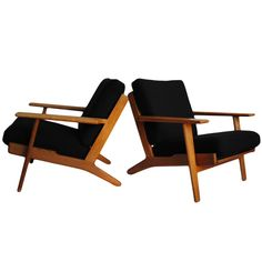 Pair of Hans J. Wegner Armchairs. GE290 | From a unique collection of antique and modern lounge chairs at https://www.1stdibs.com/furniture/seating/lounge-chairs/