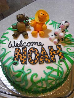 Jungle Theme Baby Shower Cake - Monkey, Lion, Zebra