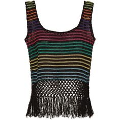 Jaline Rainbow Stripe Woven Fringed Amy Vest ($210) ❤ liked on Polyvore featuring outerwear, vests, sleeveless waistcoat, crop vest, sleeveless vest, holiday vest and cotton vest