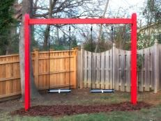 How to Build a Modern A-Frame Swing Set   Easy Crafts and Homemade Decorating & Gift Ideas   HGTV Wooden Swing Set Plans, Build A Swing Set, Swing Sets For Kids, Wooden Swings, Kids Swing, Kids Wooden Playhouse, Playhouse Plans, Backyard Playhouse, Backyard Swings