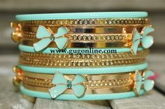Gold and Mint Bow Bangle Set $14.95 www.gugonline.com
