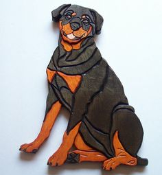 Rottweiler Wooden Wall Hanging on Etsy, $50.00