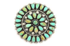 Vintage Navajo 925 Sterling Silver Turquoise Rosette Wheel Cluster Brooch by Lura Moses Begay