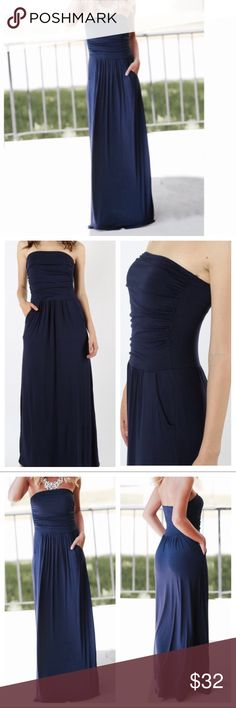 🆕 gorgeous navy blue side pocket tube dress Side pockets tube navy blue maxi dress light rayon jersey spandex PLEASE Use the Poshmark new option you can purchase and it will give you the option to pick the size you want ( all sizes are available) BUNDLE and save 10% ( no trades price is firm unless bundled) Dresses Maxi