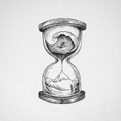 Cool Art Drawings, Pencil Art Drawings, Tattoo Drawings, Drawing Sketches, Clock Tattoo Design, Hourglass Tattoo, Tatuagem Old School, Desenho Tattoo, Black And White Illustration