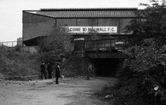"""Millwall- the den""""whu turn back"""" is written on the bridge South London, Old London, Football Stadiums, Football Fans, Millwall Fc, Nostalgic Pictures, British Football, Charlton Athletic, Soccer Pictures"""