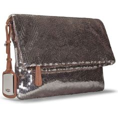UGG Accessory's Sparkle Clutch Silver Clutches & Special Occasion Bags ($175) ❤ liked on Polyvore featuring bags, handbags, clutches, silver evening handbag, silver handbags, silver purse, silver evening clutches and oversized handbags