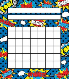 Teacher Created Resources Superhero Incentive Charts Pack - Fill up charts with mini stickers to motivate students to do their best. Record progress in homework, classroom assignments, attendance, or good behavior. Superhero Bulletin Boards, Superhero Classroom Decorations, Classroom Themes, Classroom Door, Future Classroom, Superhero Behavior Chart, Superhero School, Superhero Superhero, Student Incentives