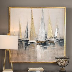 Soft cream hues accented by gold and silver metallics create a soothing scene of racing regatta boats in the Uttermost Regatta Nautical Wall Art . Hand Painted Canvas, Canvas Wall Art, Gold Wall Art, Abstract Paintings, Painting Frames, Modern Paintings, Painting Art, Gold Leaf Art, Painting With Gold Leaf