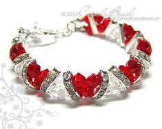 Swarovski Bracelet Ruby Rose Crystal Cuff Vintage by candybead