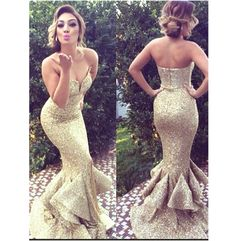 Gold Sweetheart Prom Dresses,Mermaid Prom/Evening Dress,Sweep Train Sequins Prom…