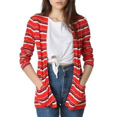 Maeven Vintage Red Striped Sweater