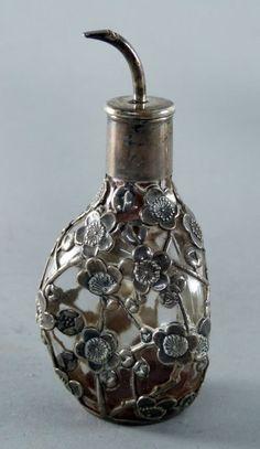 Sterling silver overlaid scent bottle,