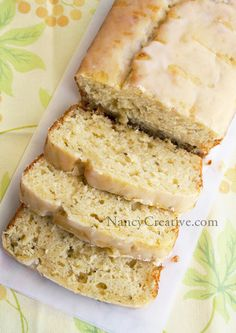Lemon Zuccini Loaf with Lemon Glaze: 2 cups unbleached all-purpose flour 2 teaspoons baking powder 1/2 teaspoon salt 2 eggs 1/2 cup canola oil 2/3 cup sugar 1/2 cup buttermilk Juice of 1 lemon (or 2 Tablespoons lemon juice) Zest of 1 lemon 1 cup grated zucchini  350 for 45 min