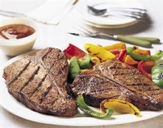 This recipe for lean T-Bone steaks includes a homemade Spicy Peppercorn Steak Sauce for big flavor!
