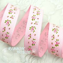 ( 5 yardas / lot ) 1 '' ( 25 mm ) cinta grosgrain cinta rosa impresa floral preciosa serie de cintas(China (Mainland))