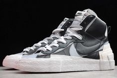 Outlet Sacai X Nike Blazer Mid Black White University Grey Buy Jordan Shoes, Jordan Shoes Online, White Shoes, Blue Shoes, Designer Sneakers Mens, Casual Shoes, Nike Air Max, University, Outfits