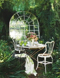 want to sit and have a cup of tea. Garden room Gypsy Purple home. Outdoor Rooms, Outdoor Gardens, Outdoor Living, Outdoor Decor, Outdoor Mirror, Outdoor Events, Small Gardens, Outdoor Projects, Outdoor Life