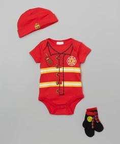 Another great find on #zulily! Red Fireman Bodysuit Set - Infant #zulilyfinds