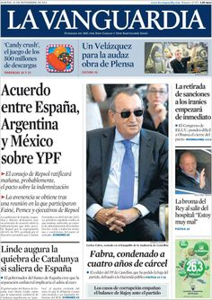 Los Titulares y Portadas de Noticias Destacadas Españolas del 26 de Noviembre de 2013 del Diario La Vanguardia ¿Que le pareció esta Portada de este Diario Español?