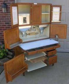 Antique Hoosier Cupboards | Vintage Antique Hoosier Kitchen Cabinet,  Original Finish, Double Slide