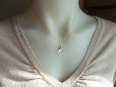 Teardrop Crystal Necklace Bridesmaid Pendant14kt by DonnaJJewelry, $22.00