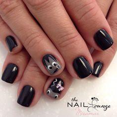 Frankenstein halloween gel nail art design