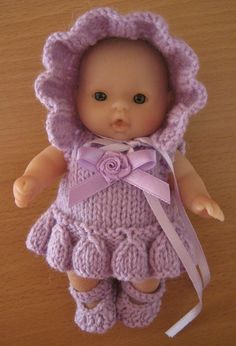 Knitting Pattern for 5 Berenguer Dolls Clothes Baby Doll Clothes, Crochet Doll Clothes, Knitted Dolls, Doll Clothes Patterns, Crochet Dolls, Doll Patterns, Baby Knitting Patterns, Knitting Designs, Girl Dolls