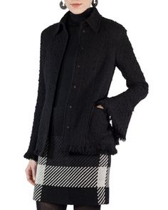 Fringed+Boucle+Button-Front+Jacket+by+Akris+punto+at+Bergdorf+Goodman.