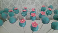 Blue and pink blossom flowers cakepops