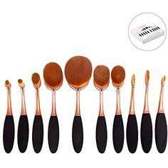 DSCbeauty 10 Pcs Oval Brushes Set Packed with Box Foundation Contour Blush Concealer Eyebrow Eyeliner Blending Cosmetics Brushes Toothbrush Curve Makeup Tools Set (Black Rose Golden) * Be sure to check out this awesome product. (This is an affiliate link and I receive a commission for the sales) #MakeupBrushesTools