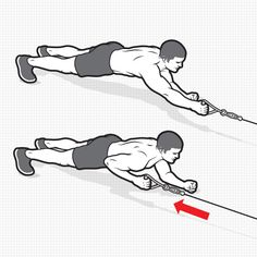 PLANK CABLE ROW HOW TO DO IT: Attach a handle to the low pulley of a cable station and face it in a plank position, resting your weight on your forearms. Grab the handle in your right hand with your arm outstretched. This is the starting position. Pull the handle toward your right side, stopping when your elbow touches your ribs. Return to the starting position. Do 3 sets of 10 reps per arm.